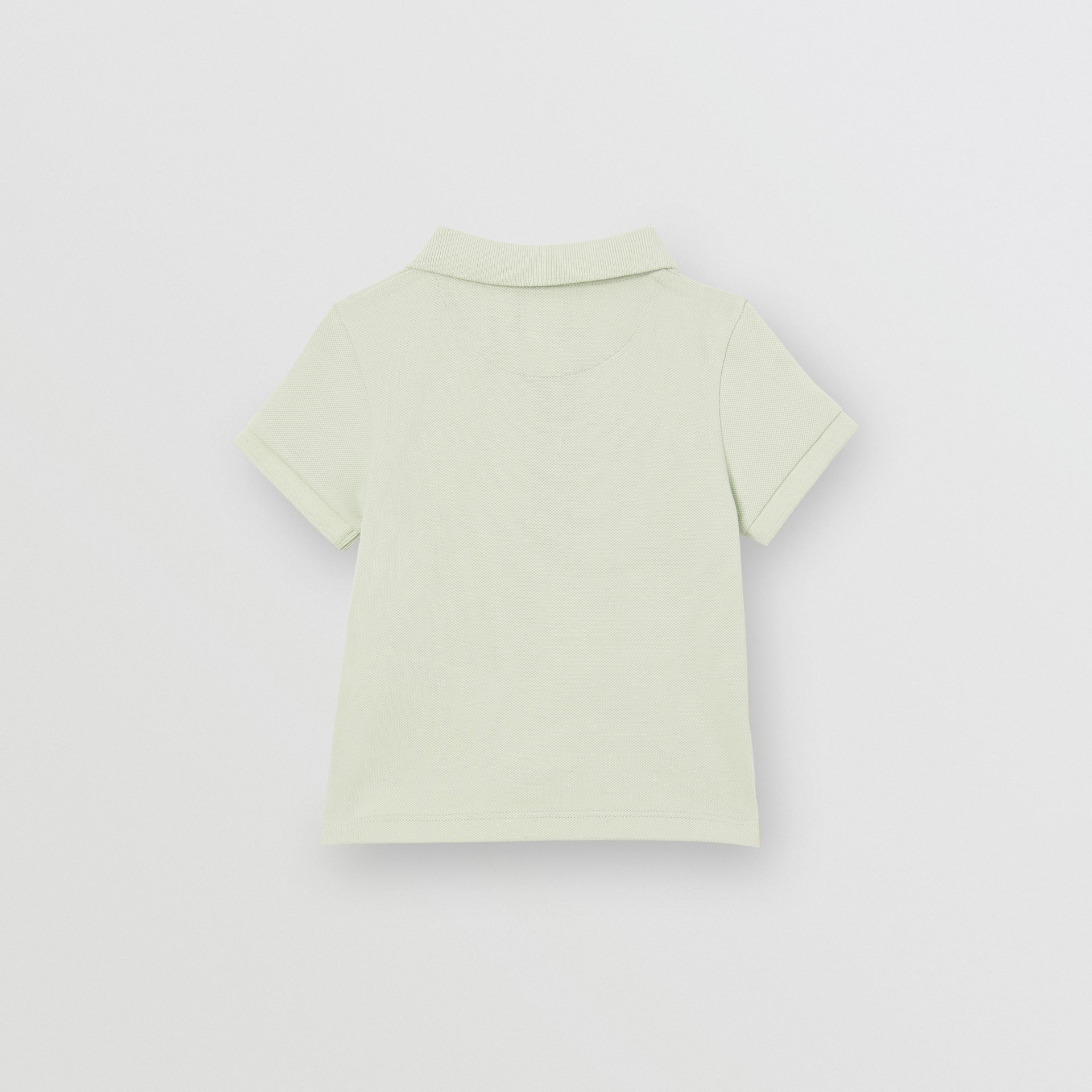 Icon Stripe Placket Cotton Piqué Polo Shirt in Pale Mint - Children | Burberry United States - gallery image 3