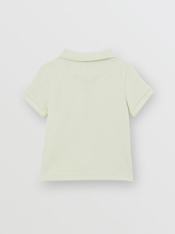 Icon Stripe Placket Cotton Piqué Polo Shirt in Pale Mint - Children | Burberry United States - cell image 3