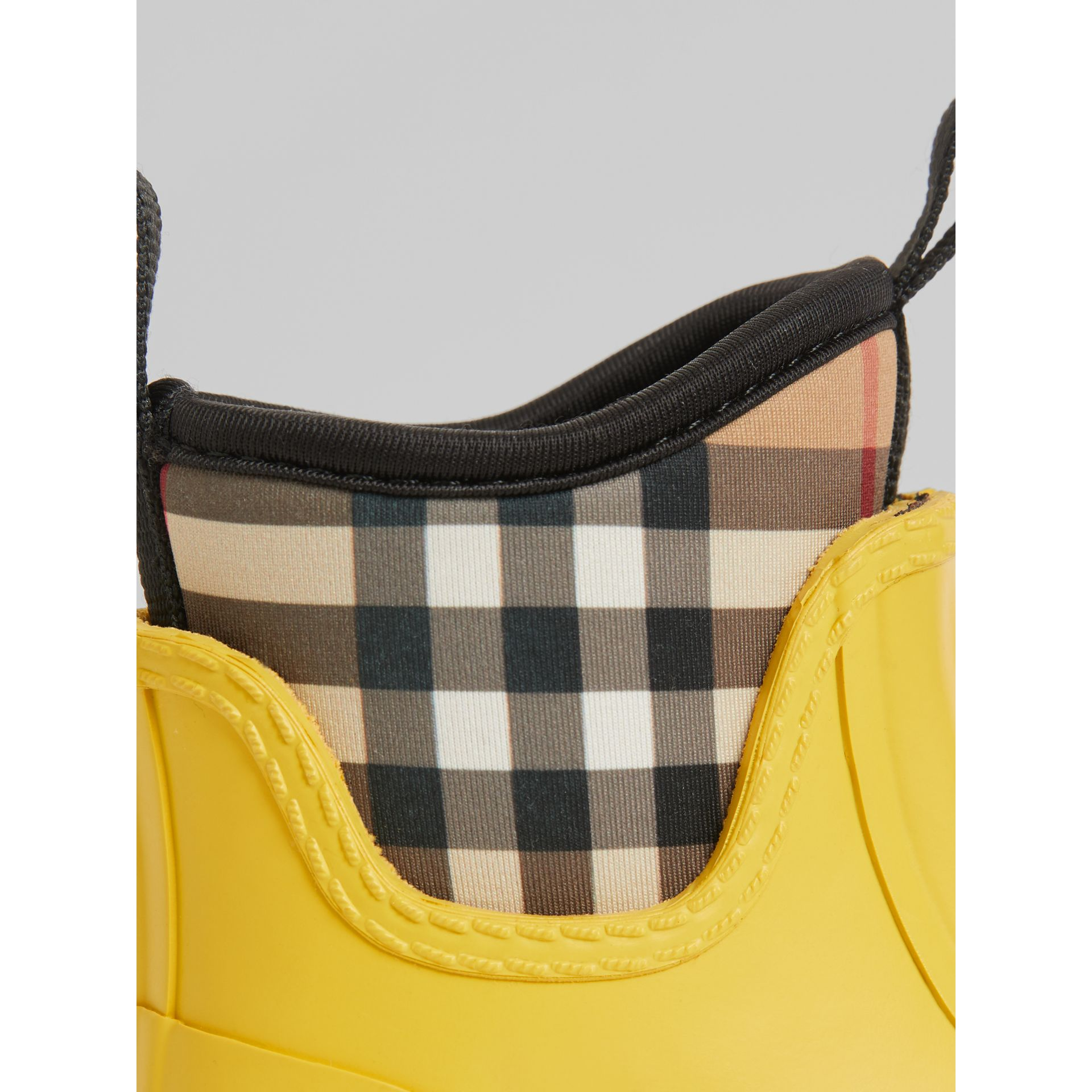 Vintage Check Neoprene and Rubber Rain Boots in Vibrant Lemon | Burberry United Kingdom - gallery image 1