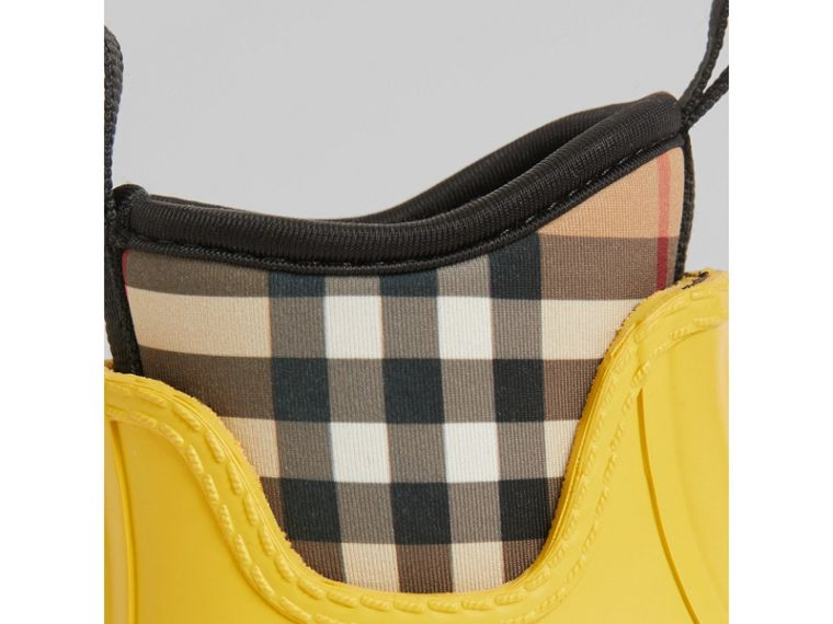 Vintage Check Neoprene and Rubber Rain Boots in Vibrant Lemon | Burberry Singapore - cell image 1