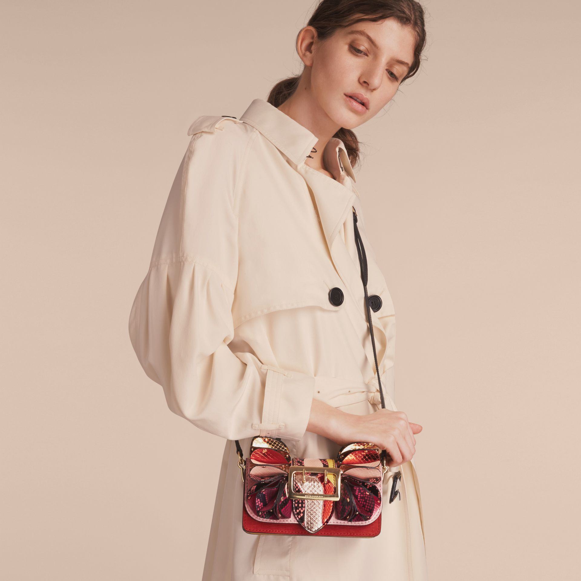 The Ruffle Buckle Bag in Snakeskin and Calf Leather - gallery image 4
