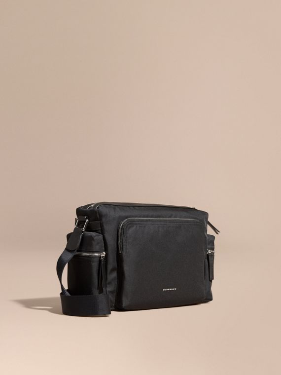 Leather Trim Messenger Bag Black