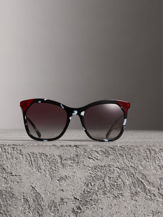 Tortoiseshell Square Frame Sunglasses in Dark Grey - Women | Burberry - cell image 2
