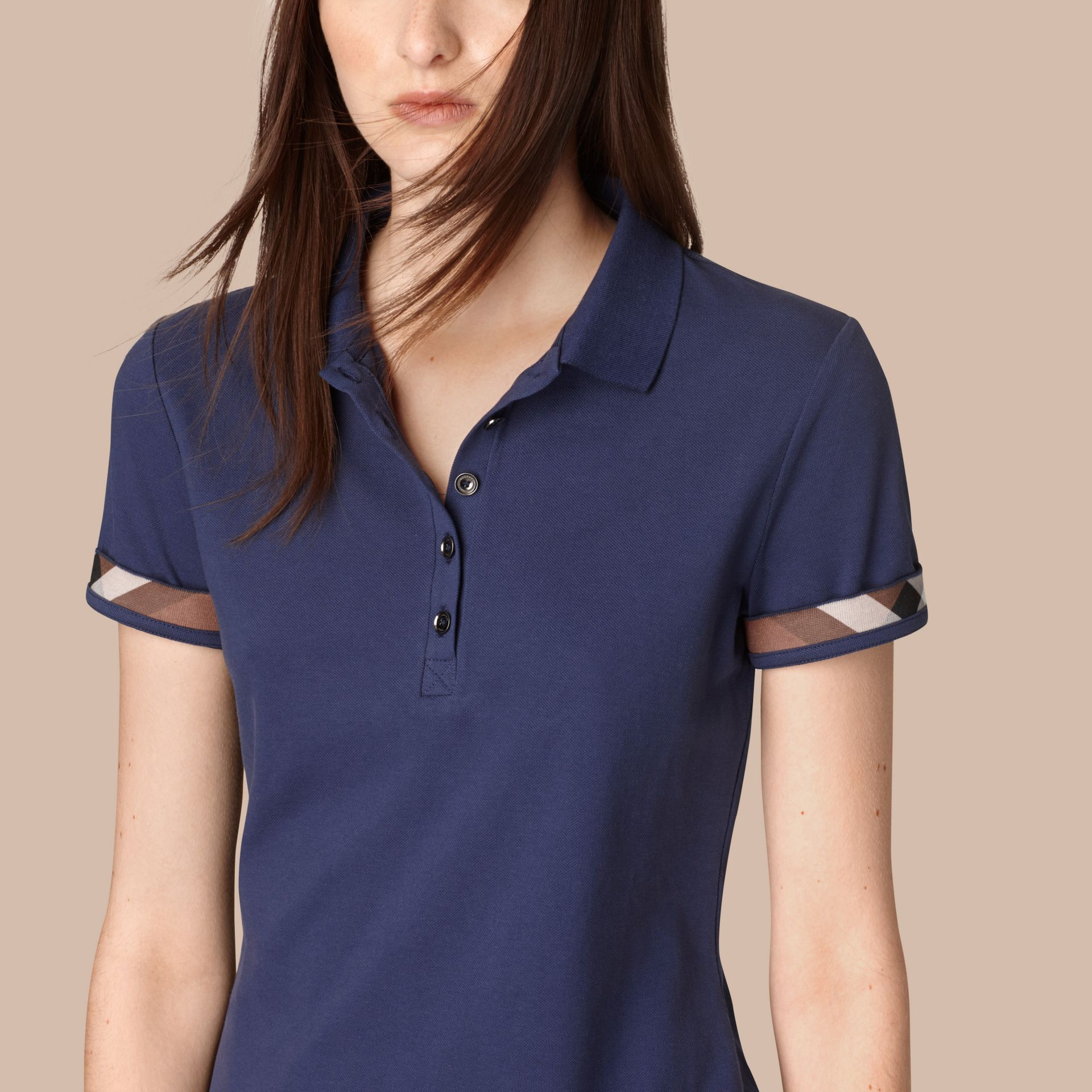 Mid indigo Check Trim Stretch Cotton Piqué Polo Shirt Mid Indigo - gallery image 2