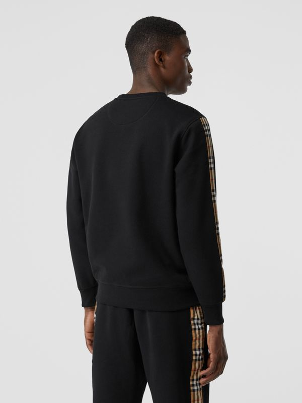 Vintage Check Panel Jersey Sweatshirt in Black - Men | Burberry - cell image 2