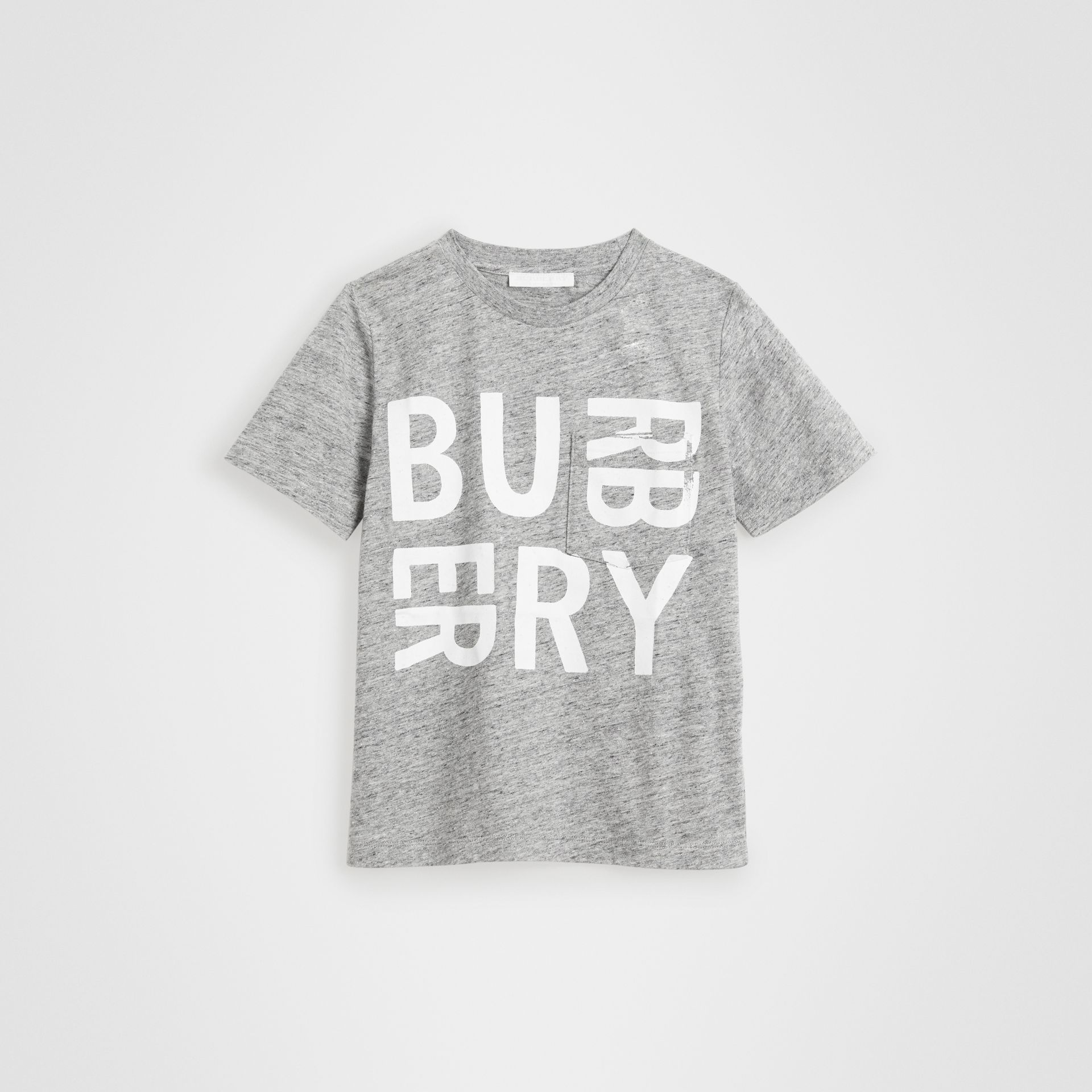 Logo Print Cotton Blend T-shirt in Grey Melange | Burberry - gallery image 0