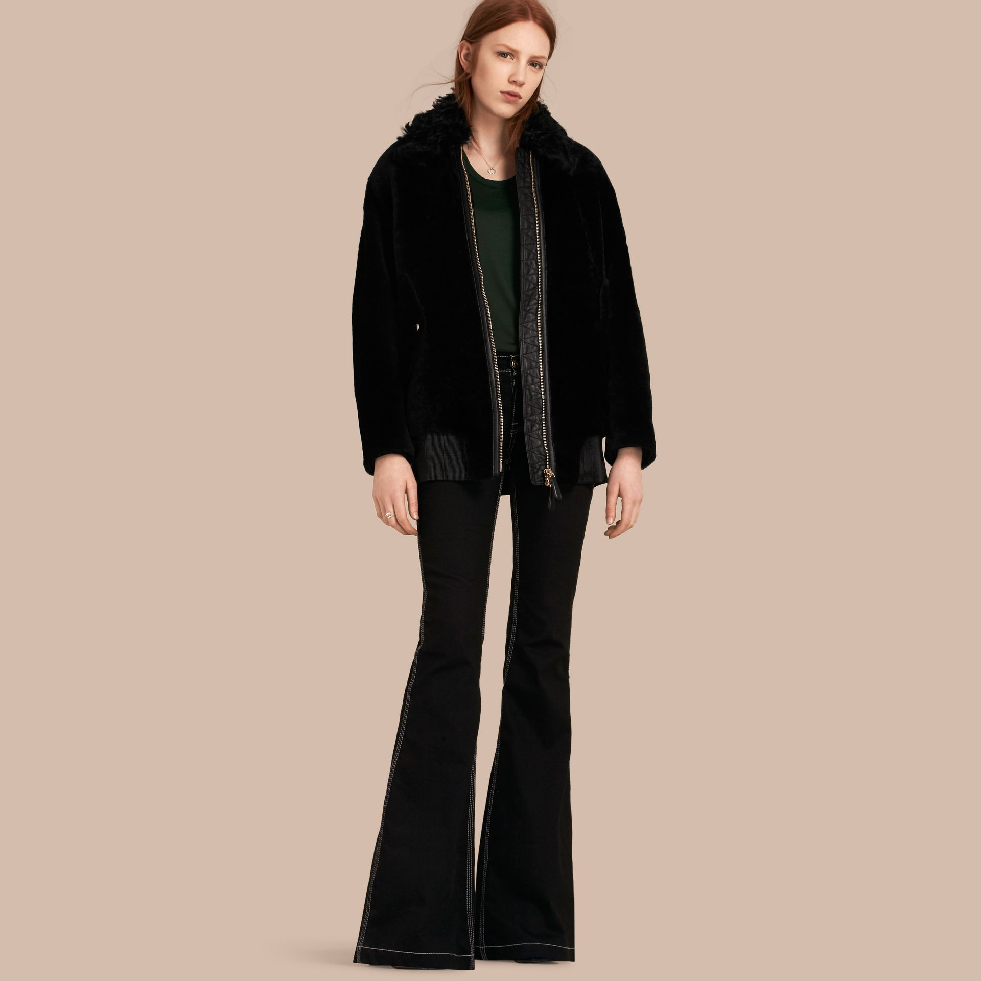 Black Shearling Bomber Jacket - gallery image 1