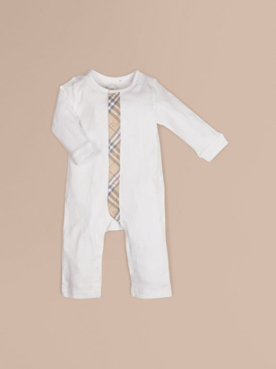 Check Trim Cotton Jumpsuit in White
