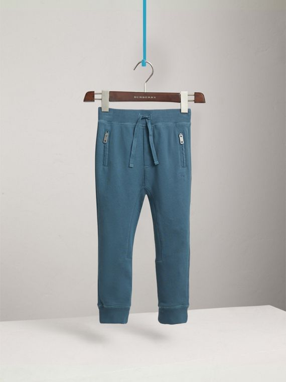 Drawcord Cotton Sweatpants in Pewter Blue - Boy | Burberry - cell image 2