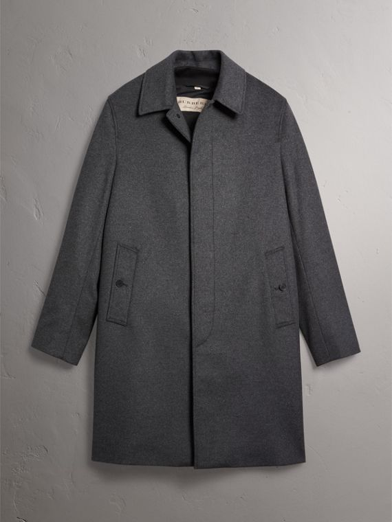 Wool Cashmere Blend Car Coat with Detachable Gilet in Dark Grey Melange - Men | Burberry Australia - cell image 3
