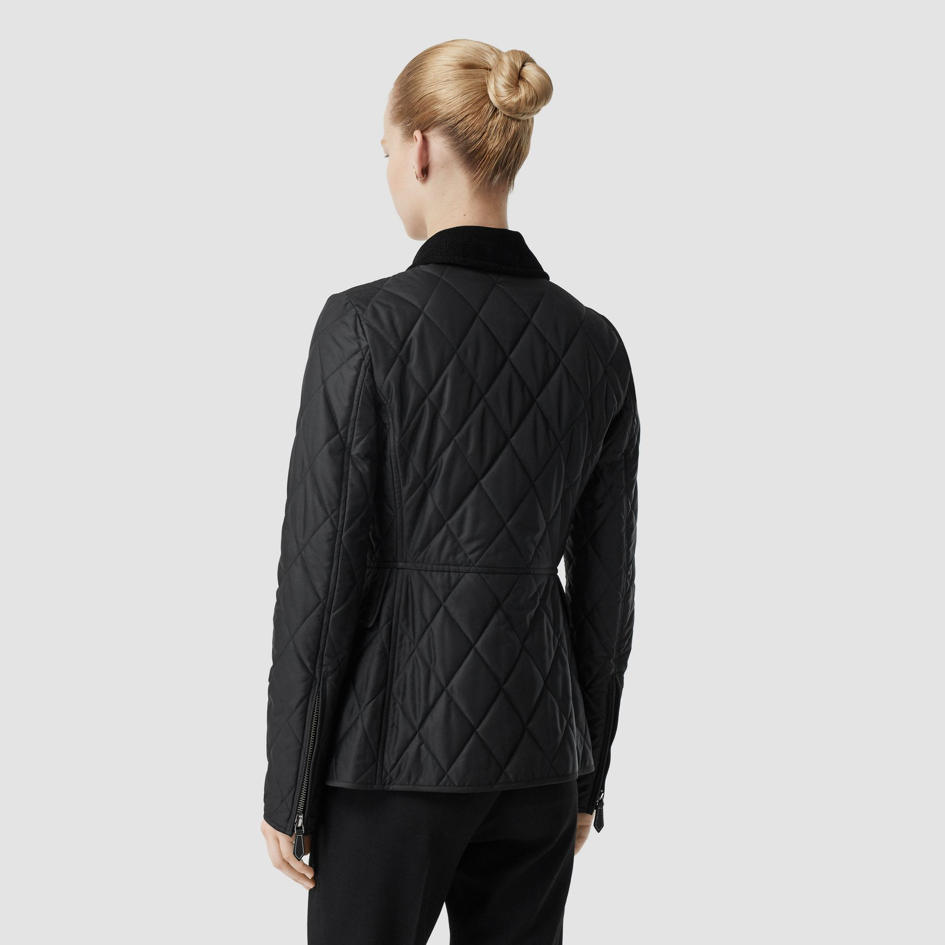 Monogram Motif Quilted Riding Jacket in Black - Women | Burberry - gallery image 2