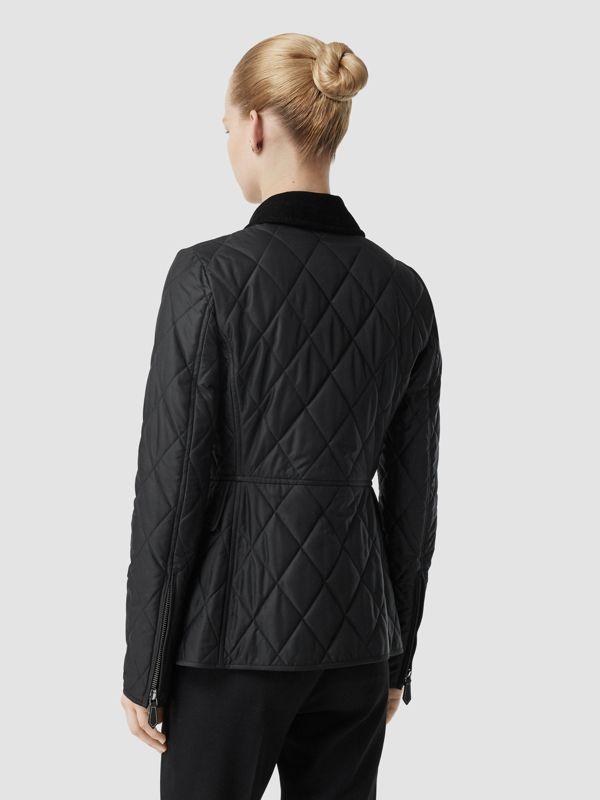 Monogram Motif Quilted Riding Jacket in Black - Women | Burberry - cell image 2