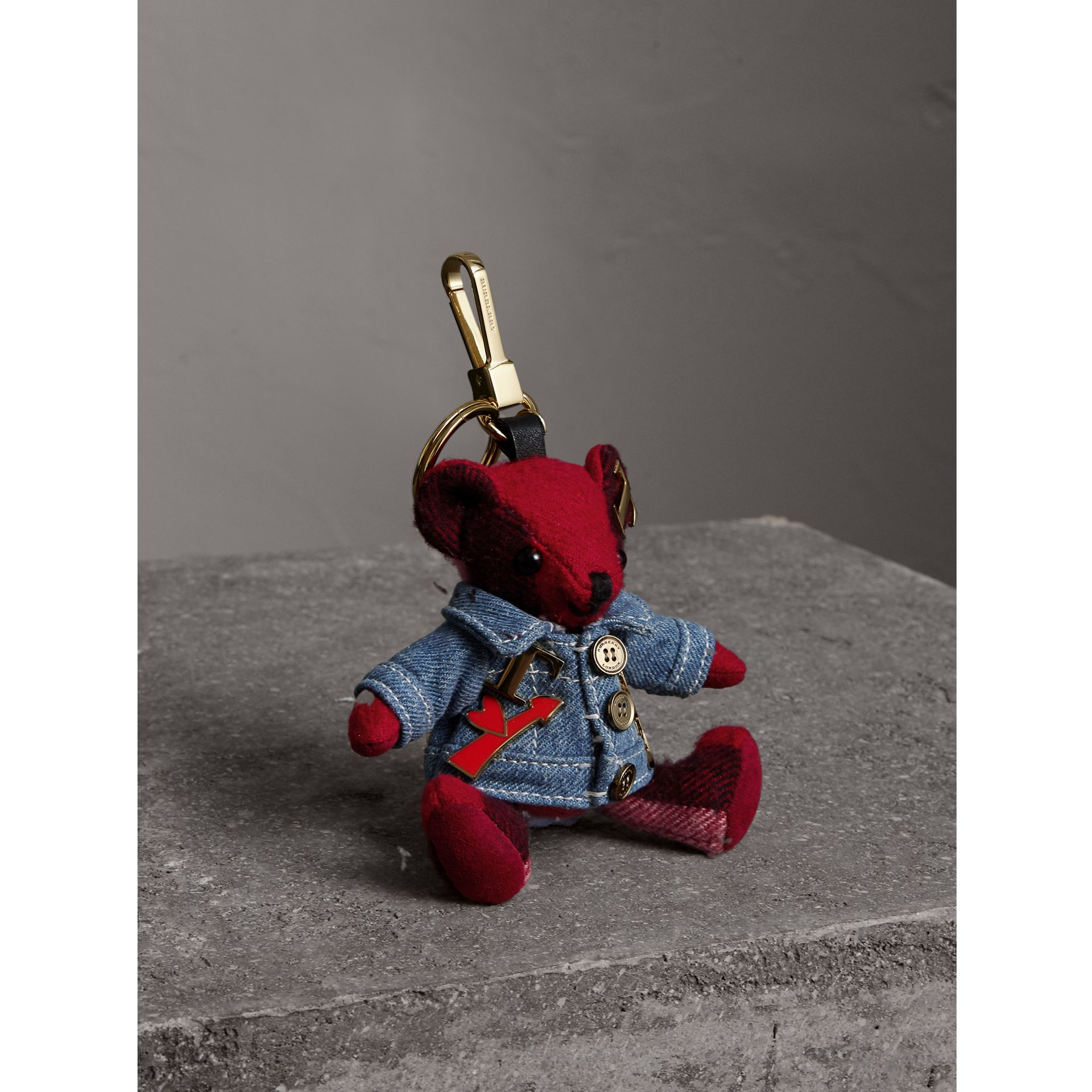 Thomas Bear Charm in Check Cashmere with Jean Jacket - Women | Burberry - gallery image 1