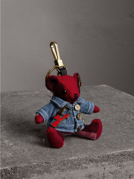 Thomas Bear Charm in Check Cashmere with Jean Jacket - Women | Burberry Hong Kong