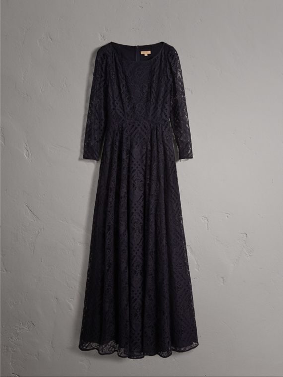 Check Lace Floor-length Dress in Navy - Women | Burberry - cell image 3