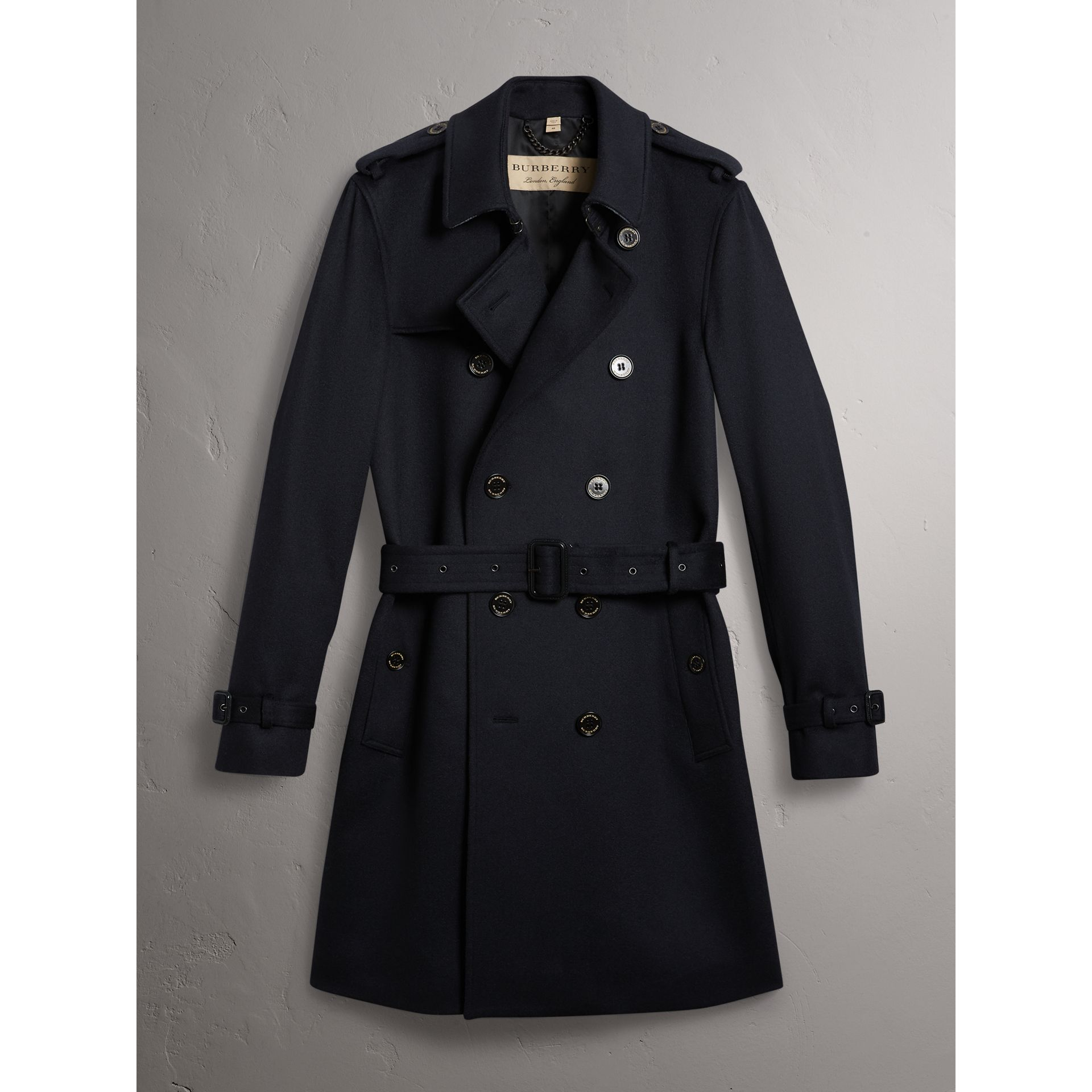 Cashmere Trench Coat in Navy - Men | Burberry - gallery image 3