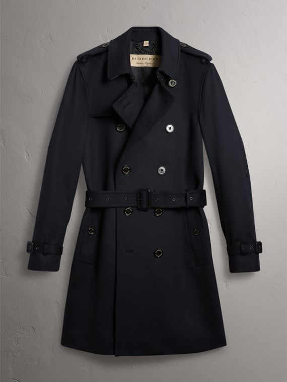 Cashmere Trench Coat in Navy - Men | Burberry Australia - cell image 3