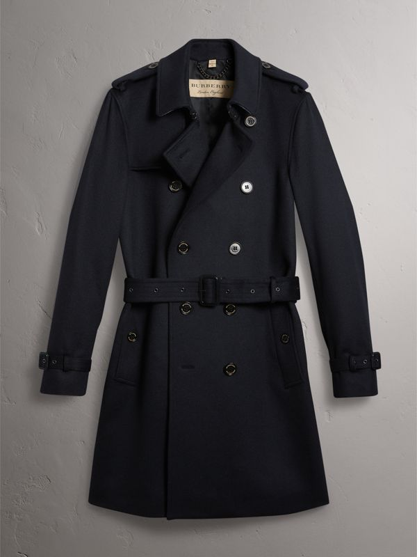 Cashmere Trench Coat in Navy - Men | Burberry - cell image 3