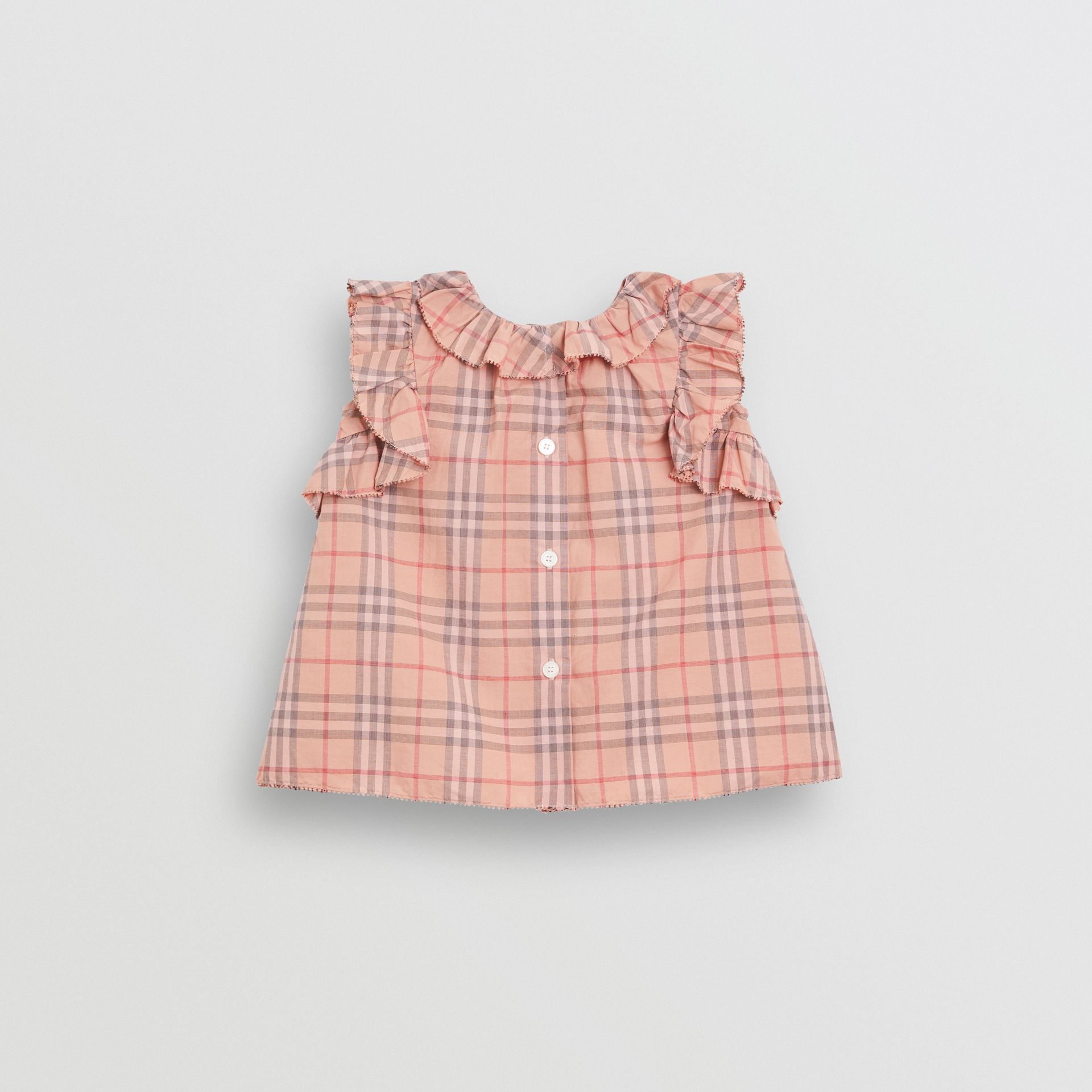 Robe en coton à motif check avec volants et bloomer (Rose Clair) - Enfant | Burberry - photo de la galerie 3