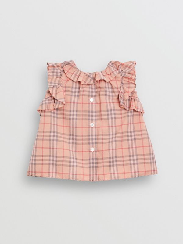 Ruffle Detail Check Cotton Dress with Bloomers in Light Rose - Children | Burberry - cell image 3