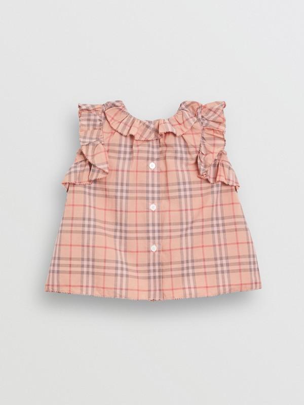 Vestido en algodón a cuadros con detalles avolantados y culottes (Rosa Claro) - Niños | Burberry - cell image 3