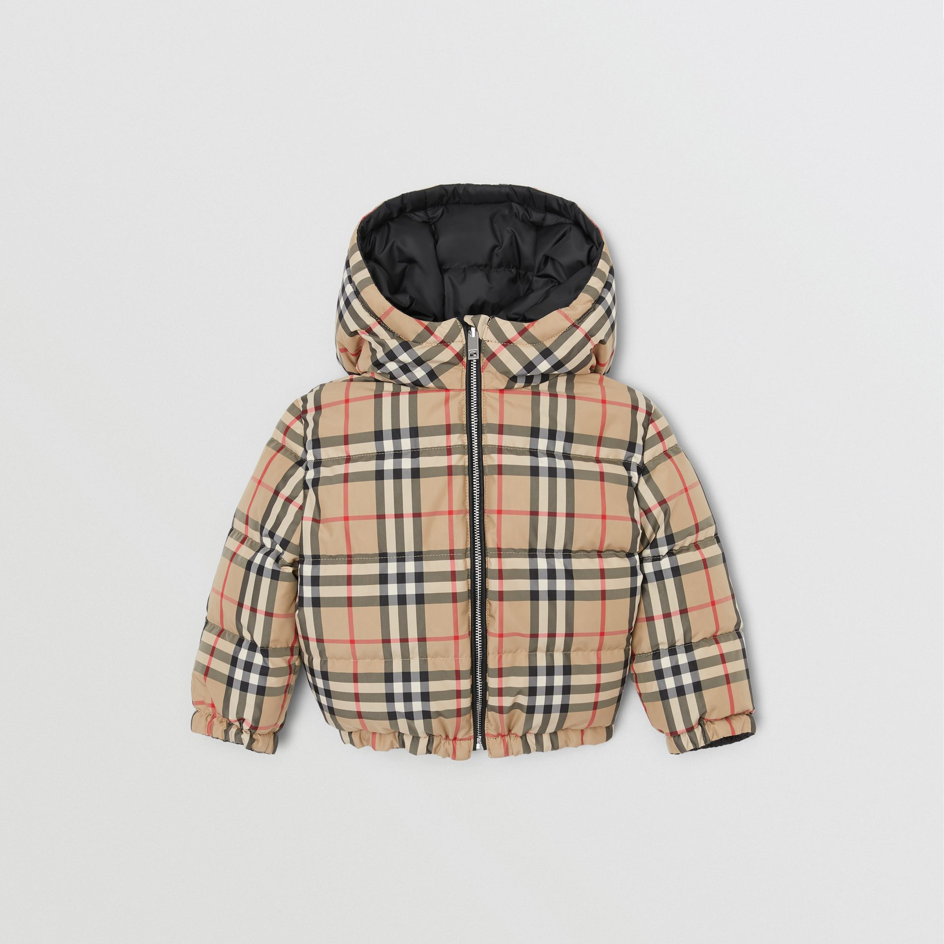 Reversible Vintage Check Down-filled Puffer Jacket in Black - Children | Burberry - gallery image 4