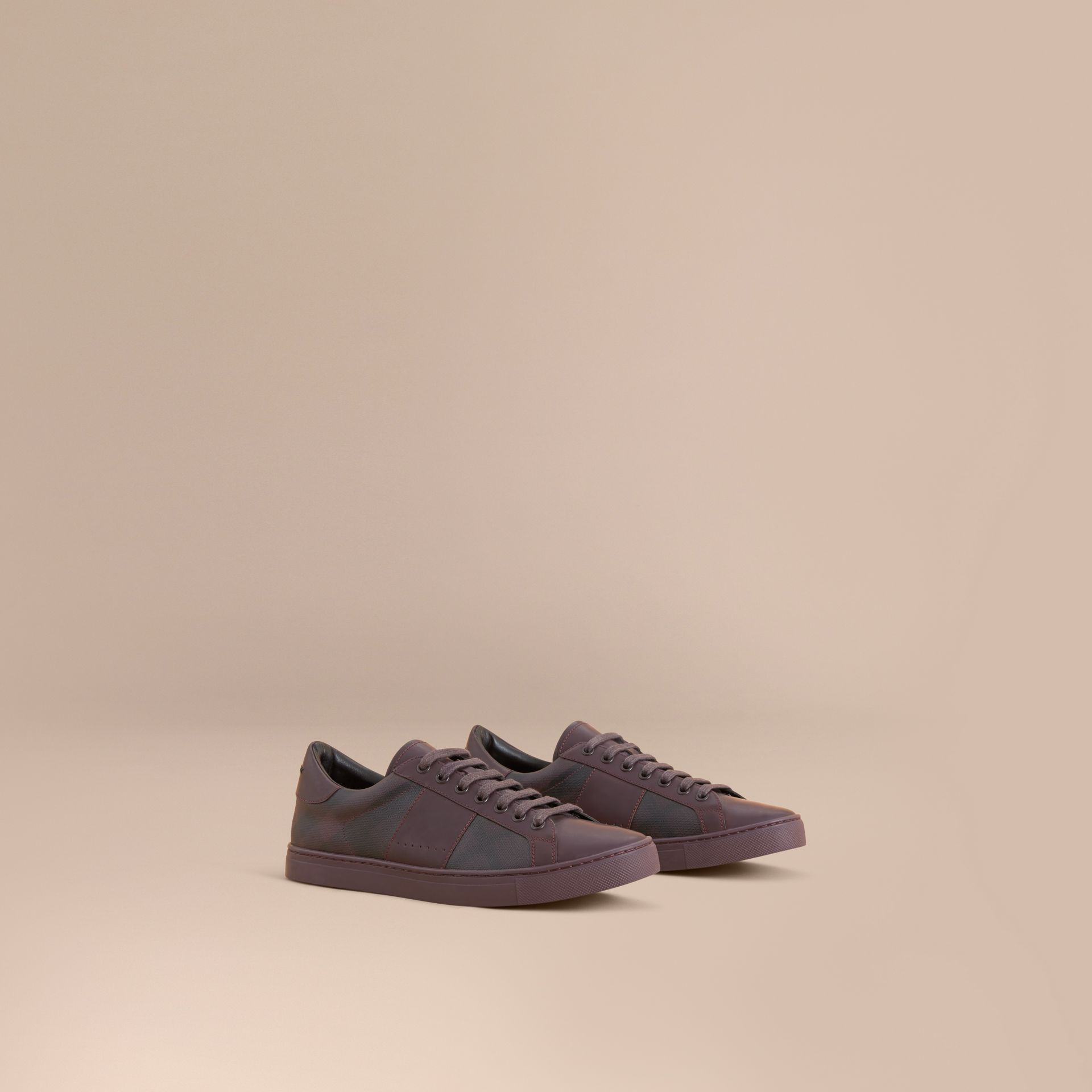 Check Detail Leather Trainers in Deep Claret - Men | Burberry - gallery image 1