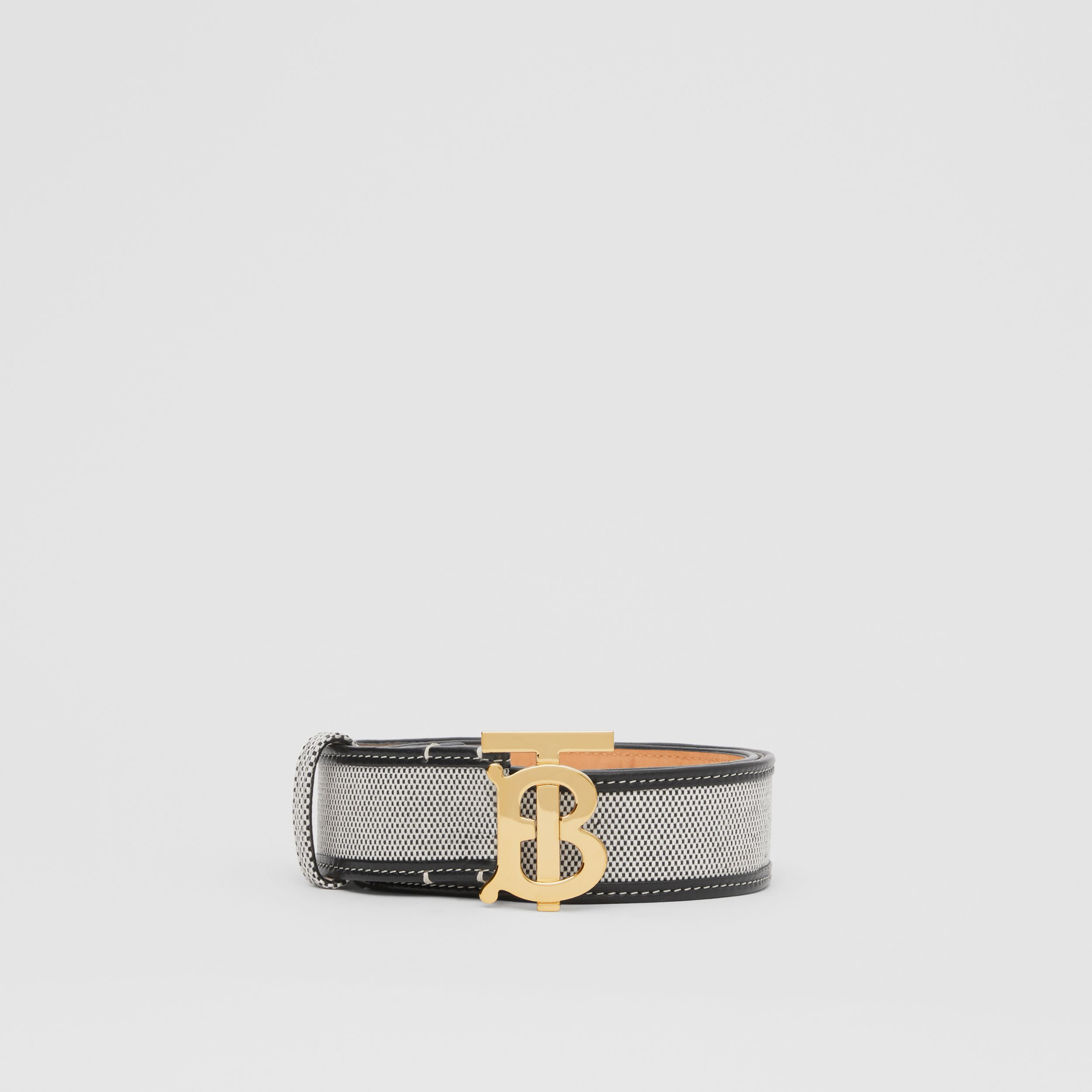Monogram Motif Canvas and Leather Belt in Black - Women | Burberry - 4