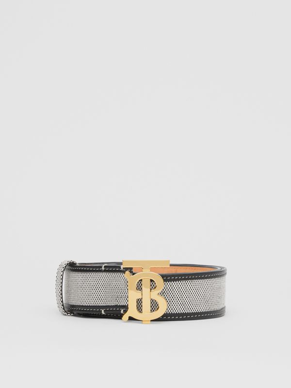 Monogram Motif Canvas and Leather Belt in Black - Women | Burberry United Kingdom - cell image 3