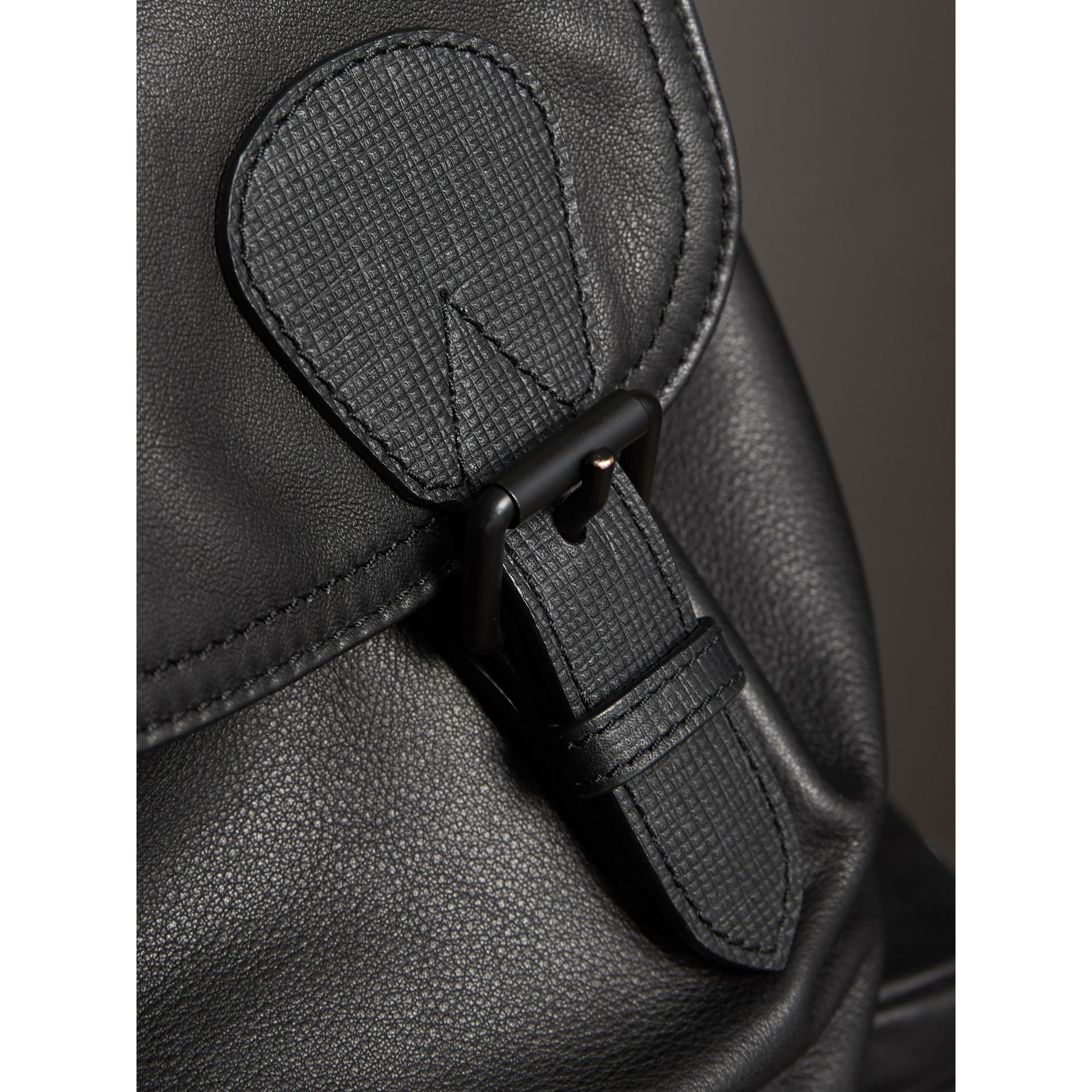 The Large Rucksack in Water-repellent Leather in Black - Men | Burberry - gallery image 6