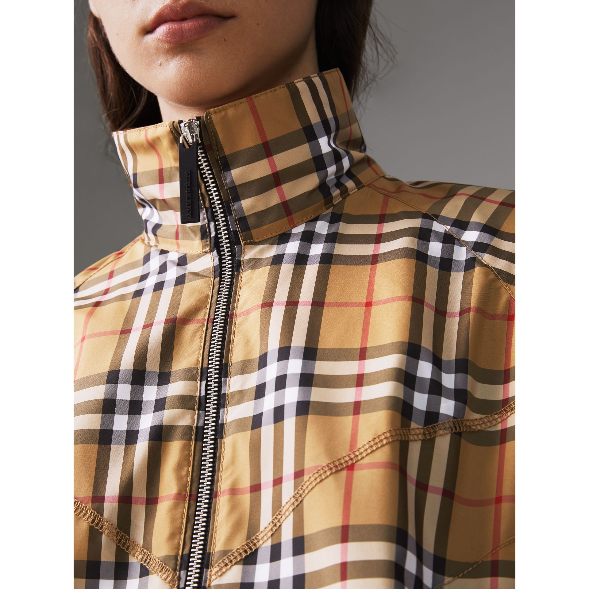Topstitch Detail Vintage Check Harrington Jacket in Antique Yellow - Women | Burberry - gallery image 1