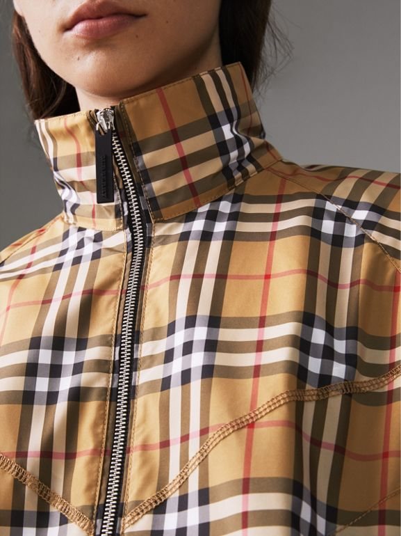Topstitch Detail Vintage Check Harrington Jacket in Antique Yellow - Women | Burberry Australia - cell image 1