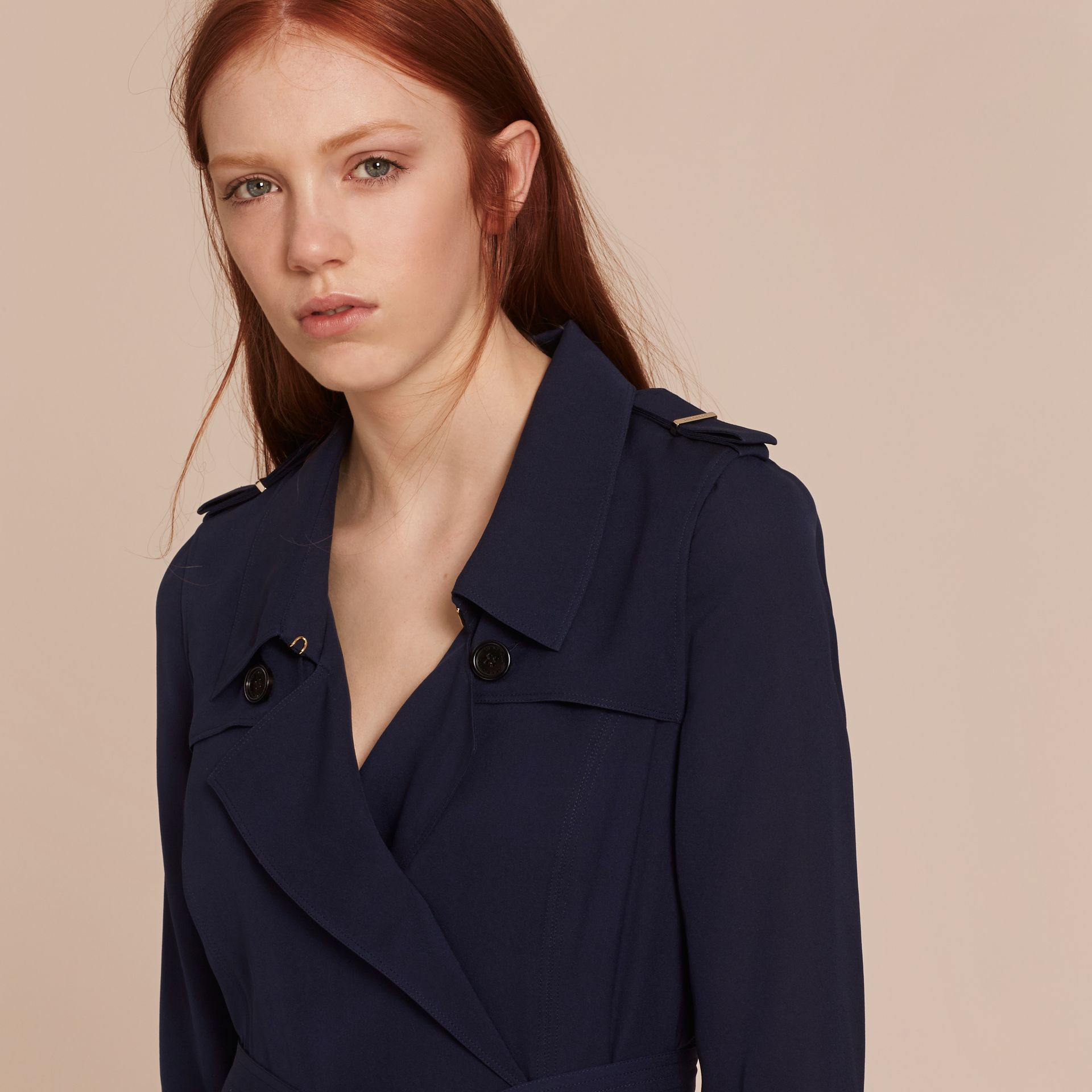 Silk Trench Dress in Navy - gallery image 5