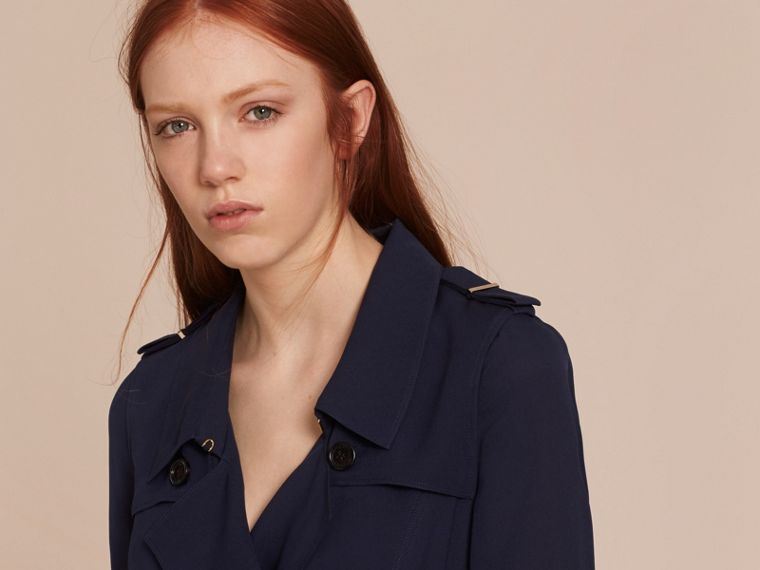Silk Trench Dress in Navy - Women | Burberry - cell image 4