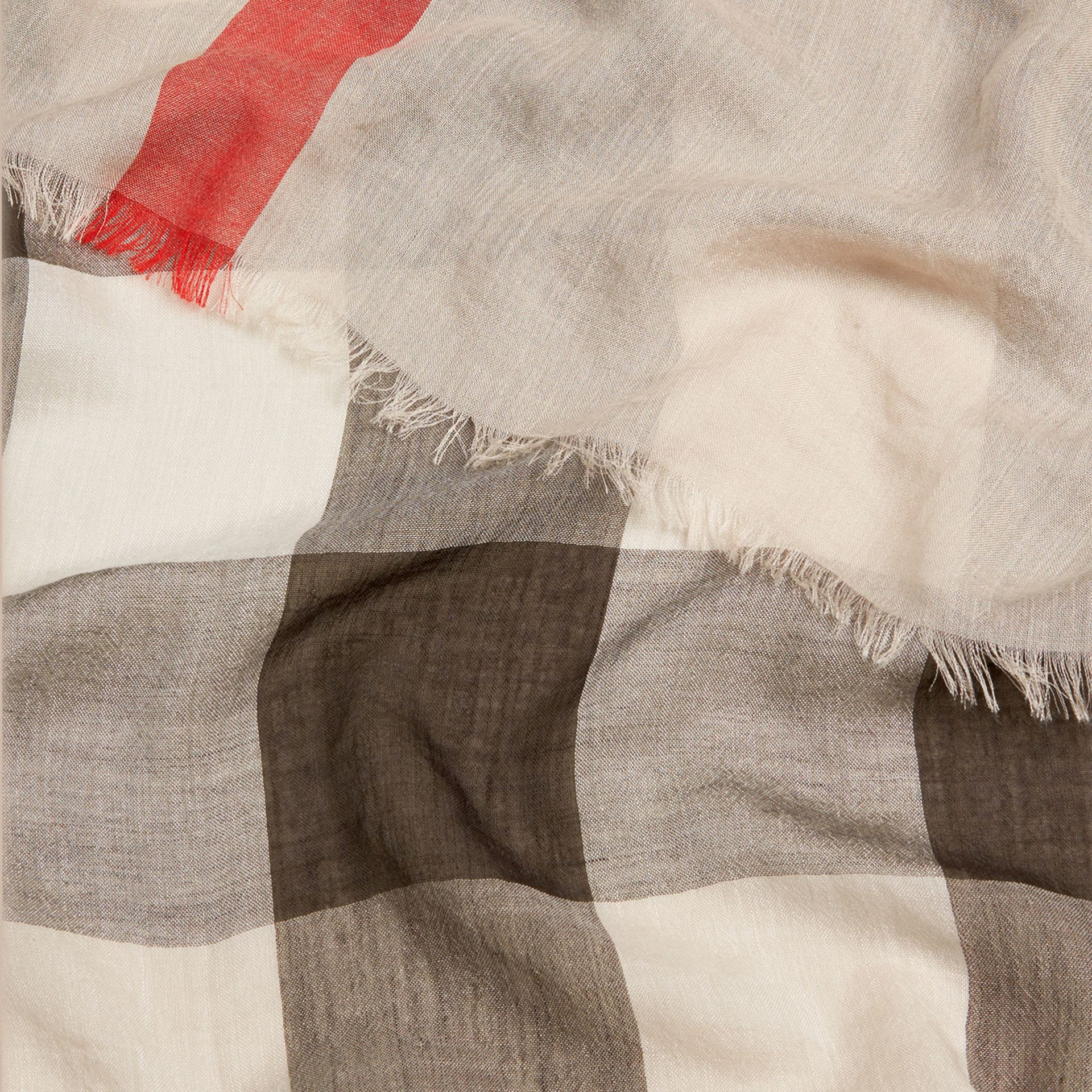 Check Modal Cashmere and Silk Scarf in Stone - Women | Burberry Australia - gallery image 2
