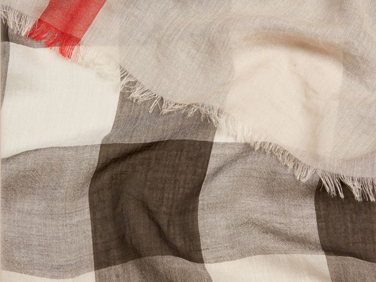 Check Modal Cashmere and Silk Scarf in Stone - Women | Burberry Australia - cell image 1