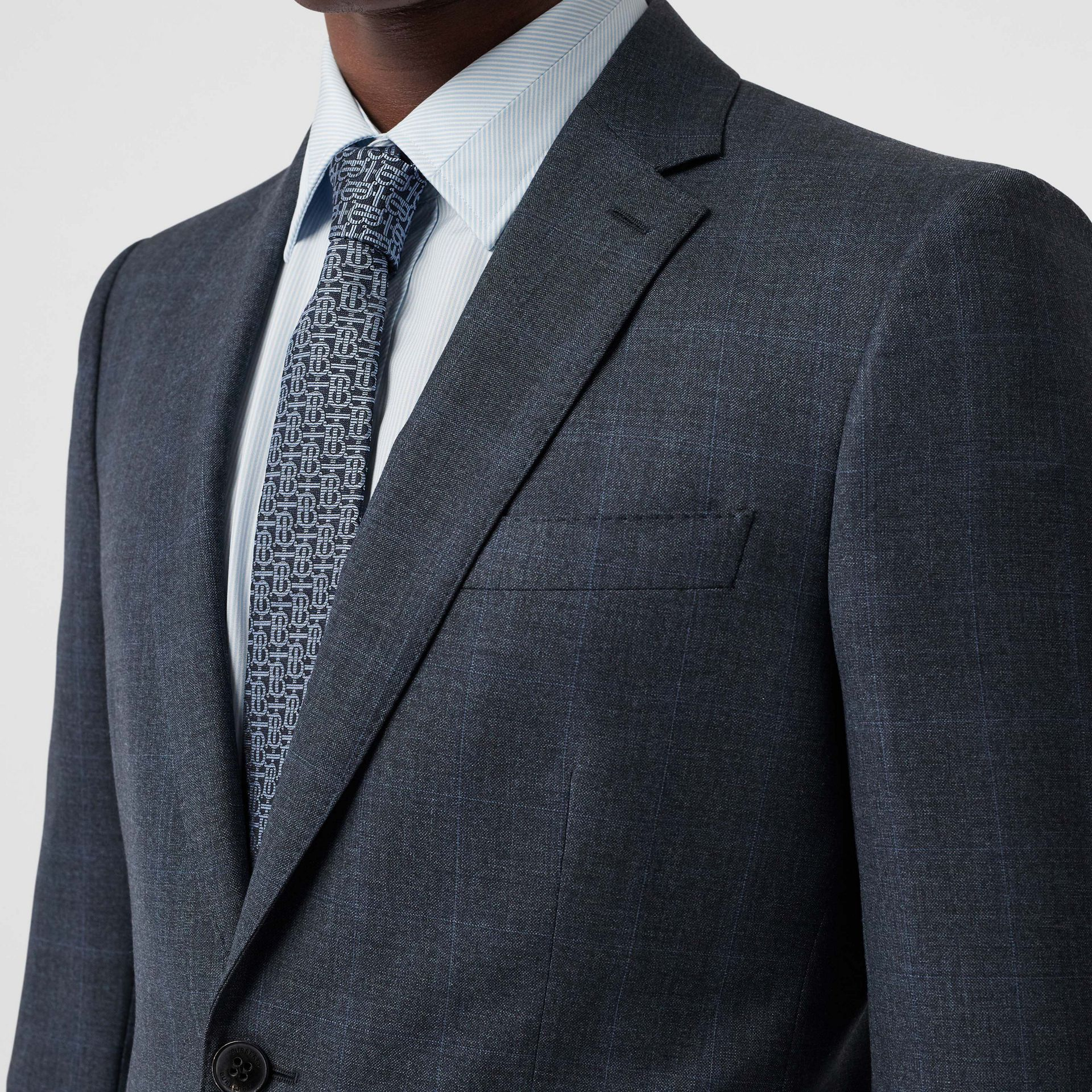 Classic Fit Windowpane Check Wool Suit in Light Navy - Men | Burberry - gallery image 1