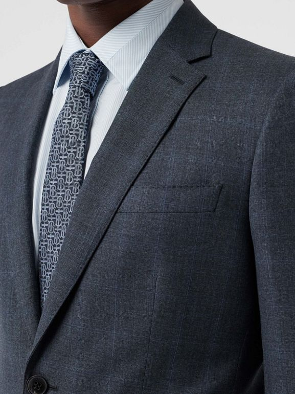 Classic Fit Windowpane Check Wool Suit in Light Navy - Men | Burberry - cell image 1