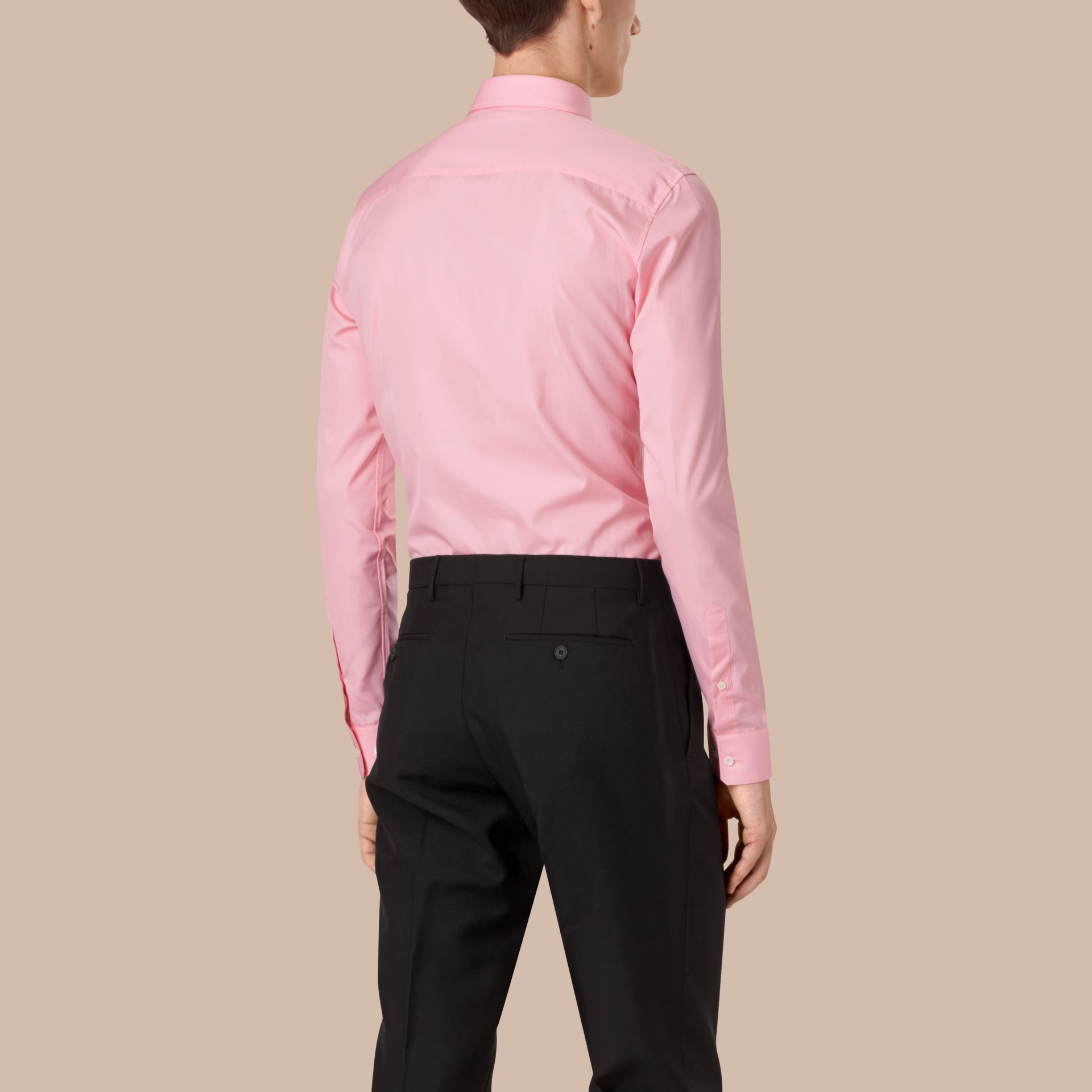 City pink Slim Fit Double-cuff Cotton Poplin Shirt - gallery image 3