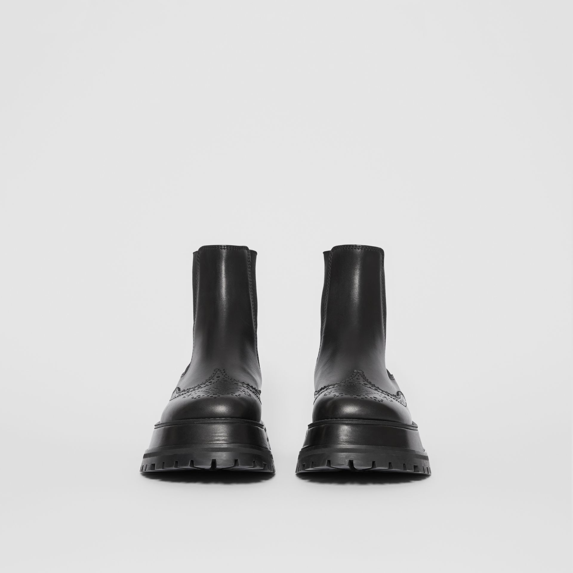 Brogue Detail Leather Chelsea Boots in Black - Women | Burberry Singapore - gallery image 3