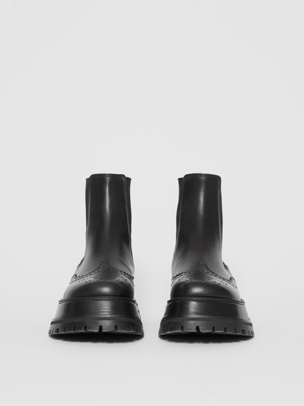 Brogue Detail Leather Chelsea Boots in Black - Women | Burberry Singapore - cell image 3