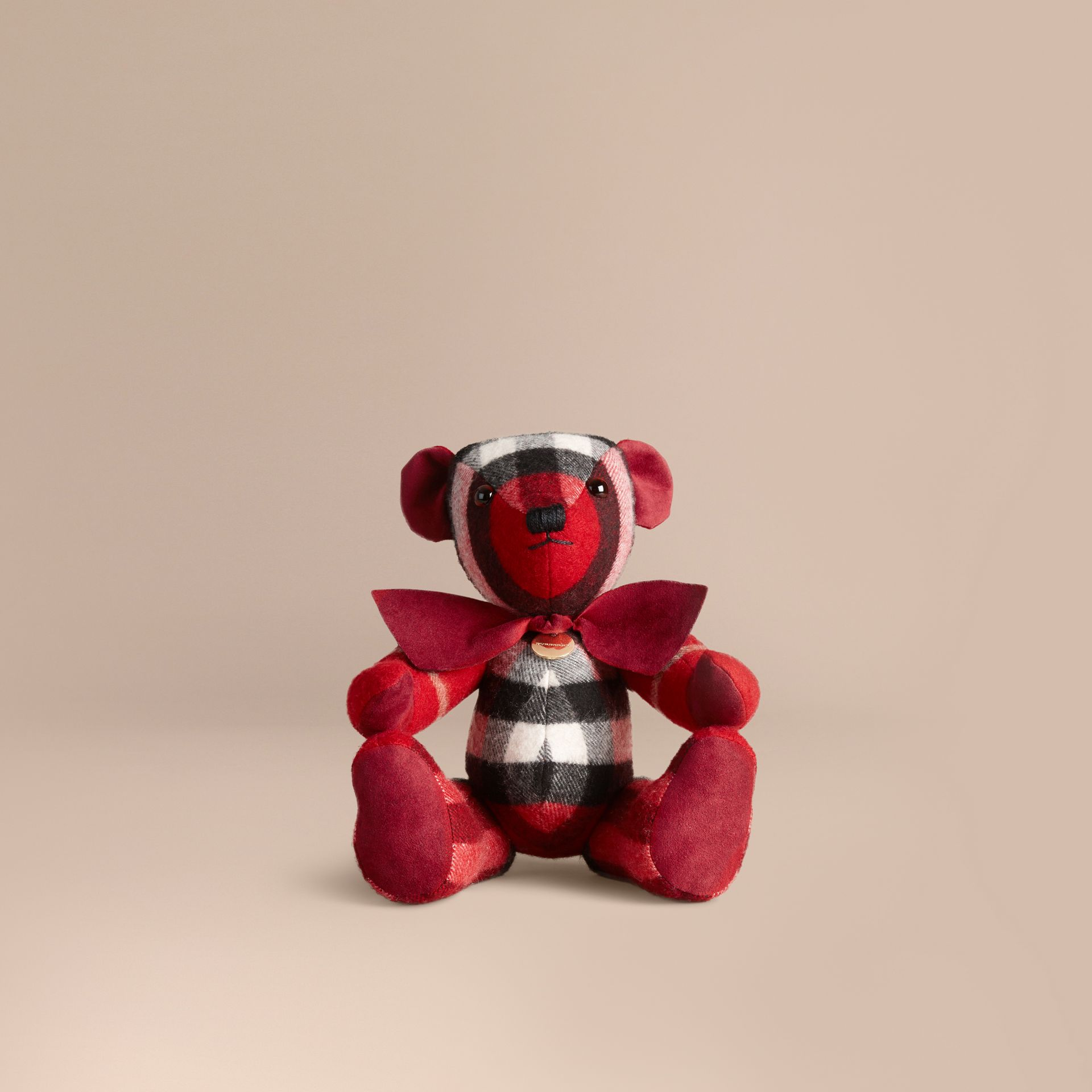 Thomas Bear in Check Cashmere in Parade Red | Burberry Canada - gallery image 1