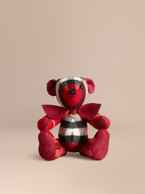 Thomas Bear in Check Cashmere in Parade Red