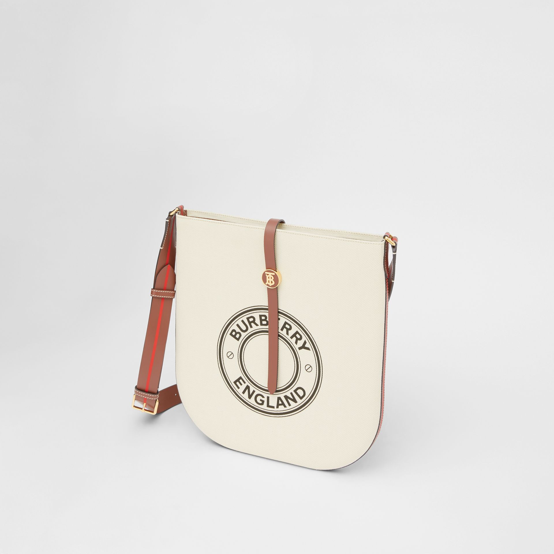 Logo Graphic Cotton Canvas and Leather Anne Bag in Natural/tan - Women | Burberry - gallery image 3