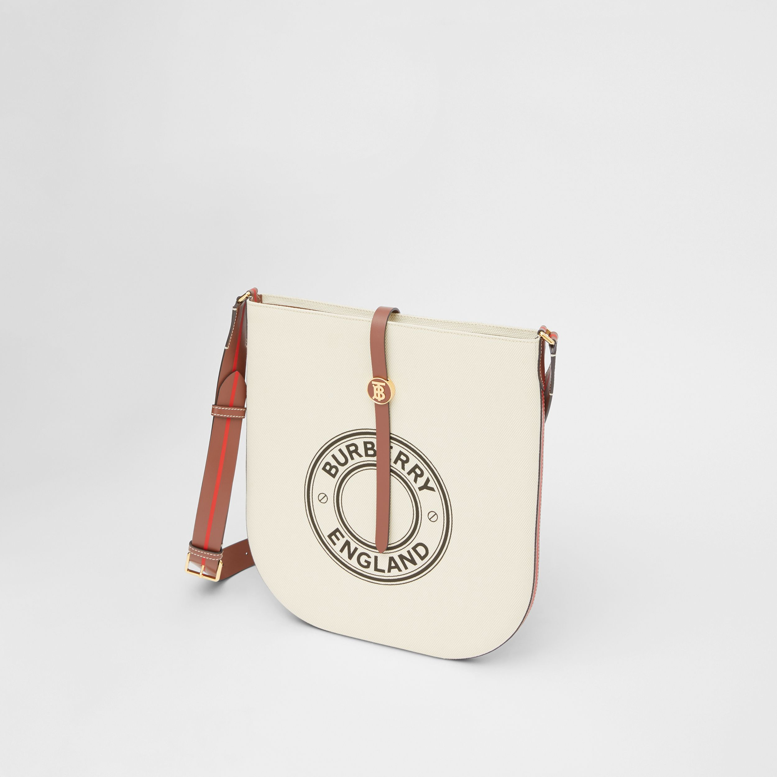 Logo Graphic Cotton Canvas and Leather Anne Bag in Natural/tan - Women | Burberry - 4
