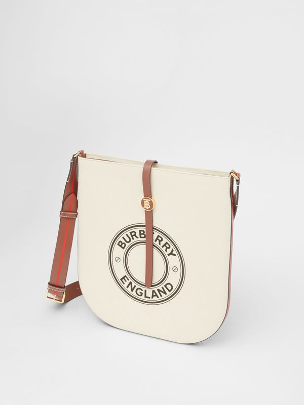 Logo Graphic Cotton Canvas and Leather Anne Bag in Natural/tan - Women | Burberry - cell image 3