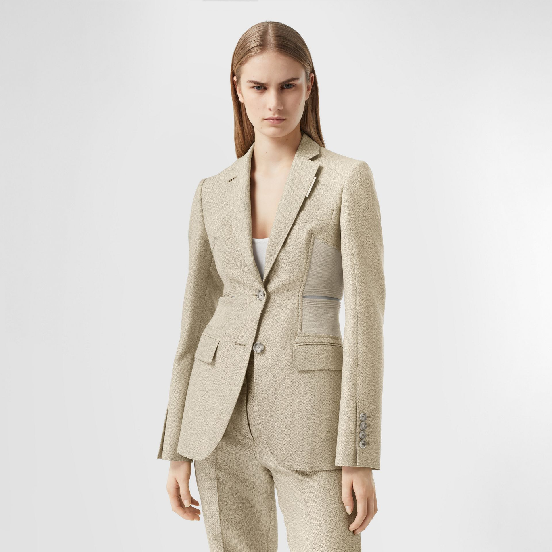 Cut-out Detail Technical Wool Blazer in Grey - Women | Burberry - gallery image 5
