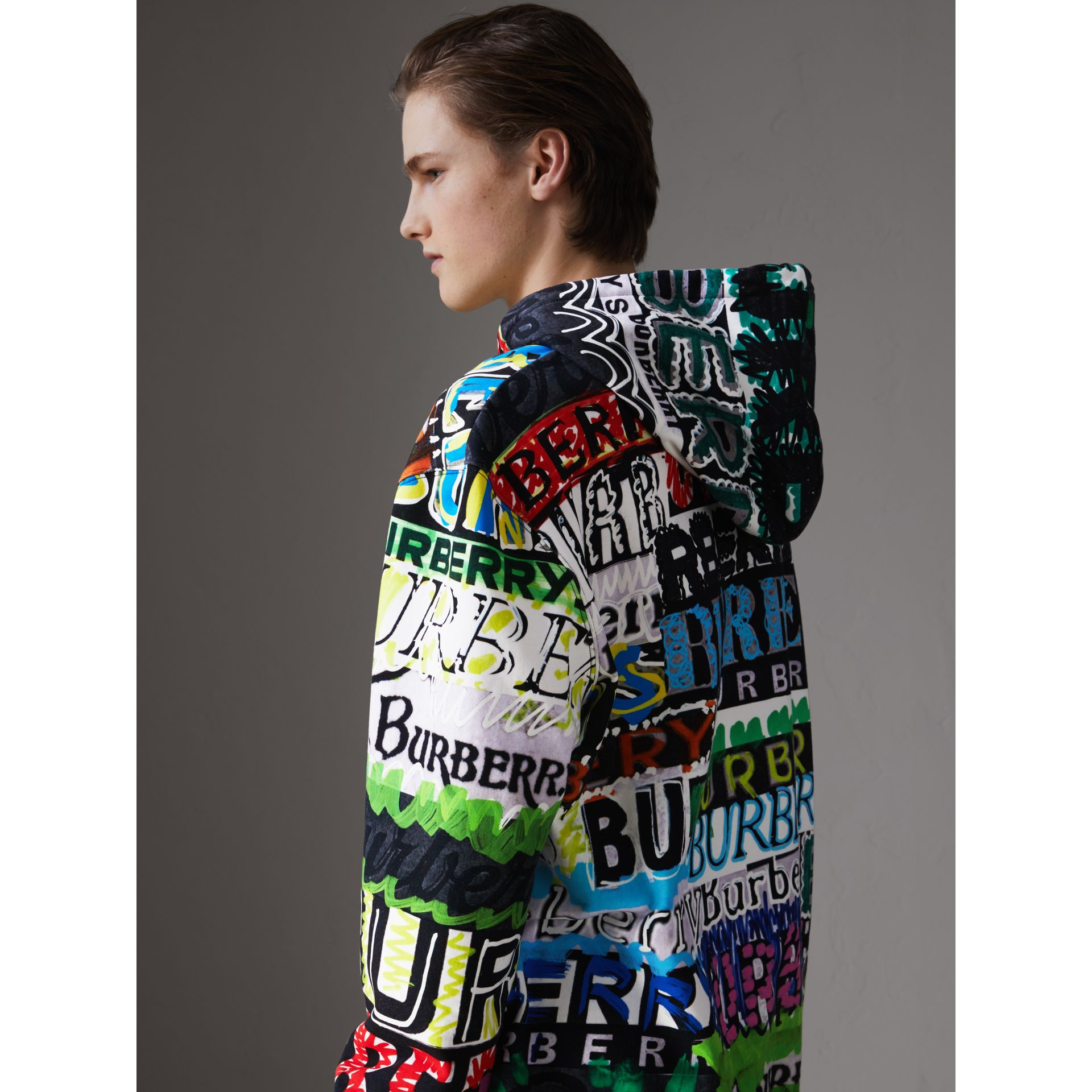 Oversized Logo Print Cotton Hoodie in Bright Green - Men | Burberry United States - gallery image 2
