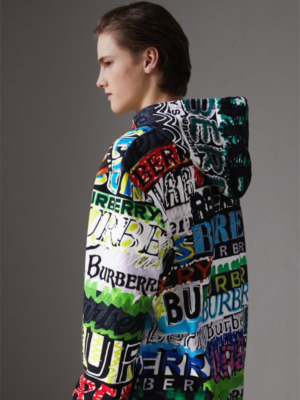 Oversized Logo Print Cotton Hoodie in Bright Green - Men | Burberry - cell image 2
