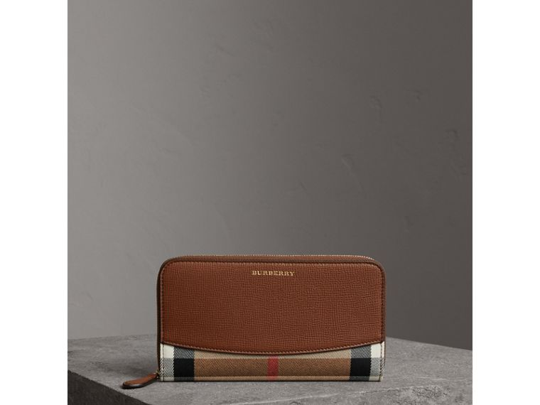 House Check and Leather Ziparound Wallet in Brown Ochre - Women | Burberry - cell image 4